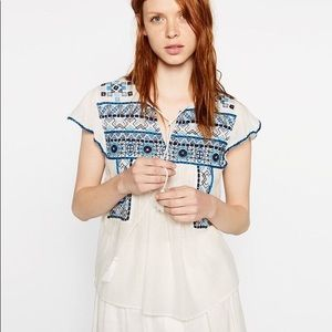 Zara embroidered top, worn once